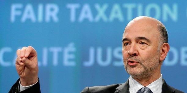 Pierre Moscovici, commissaire européen aux Affaires économiques, à Bruxelles le 21 mars 2018 lors de la présentation du projet de taxation des entreprises numériques.