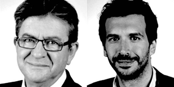 De gauche à droite, Jean-Luc Mélenchon, président du groupe France insoumise et Bastien Lachaud, député France insoumise.