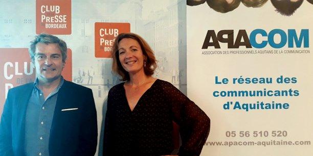 Paul Monnier, président du Club de la com Occitanie, et Marie Dubois, présidente de l'Apacom Nouvelle-Aquitaine.