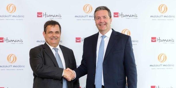 Olivier Mesnard, directeur général du groupe Humanis, et Thomas Saunier, directeur général du groupe Malakoff Médéric.