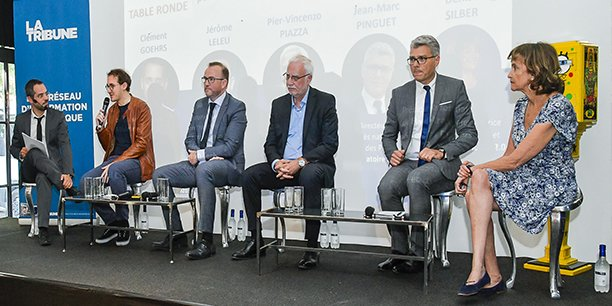 De gauche à droite : Mikaël Lozano (La Tribune), Clément Goehrs (Synapse), Jérôme Leleu (Interaction Healthcare), Pier-Vincenzo Piazza (Aelis Farma), Jean-Marc Pinguet (Laboratoire Roche) et Denise Silber (Basil Strategies)