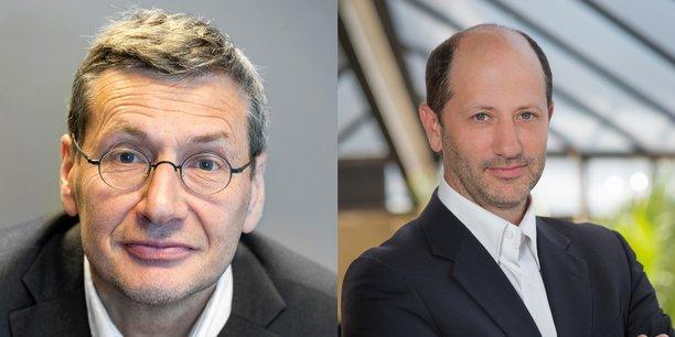 Gilles Rabin, directeur de l'innovation et des applications de la sciences au Cnes et Cédric Balty, directeur innovation et business intelligence chez Thales Alenia Space.