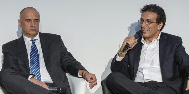 Éric Schulz (à gauche), le Chief Commercial Officer d'Airbus, est venu plancher avec son homologue de Boeing, Ihssane Mounir, au Paris Air Forum, le 21 juin 2018 pour la 5e Edition de cet événement organisé par ADP et La Tribune.