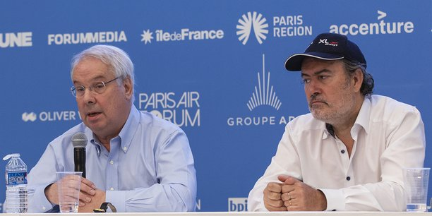Marc Rochet (French Bee, groupe Dubreuil) et Laurent Magnin (XL Airways) lors du Paris Air Forum, événement organisé par La Tribune et ADP, à La Défense, le 21 juin 2018.