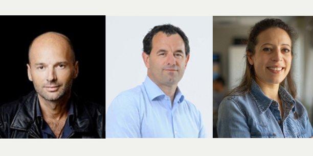 Bruno Ledoux (investisseur), Christophe Musset (président du Réseau Vià) et Sabine Torres (P-dg du groupe Médias du Sud/Vià Occitanie).