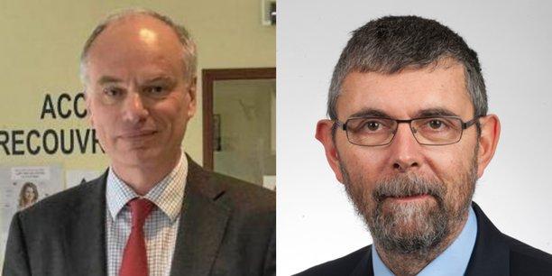 Hugues Perrin (à gauche) remplace Jacques Marzin (à droite) à la tête des Finances publiques d'Occitanie et du département de la Haute-Garonne.