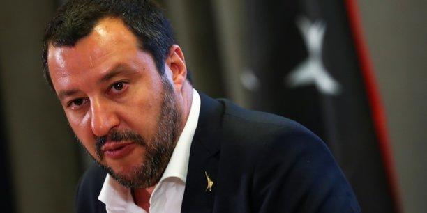 Matteo Salvini, ministre italien de l'Intérieur et également leader de la Ligue du Nord, parti d'extrême droite italien.