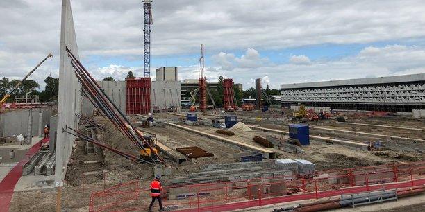 Le futur hall du Parc des expositions de Bordeaux, en cours de construction à l'emplacement de l'ancien hall 2