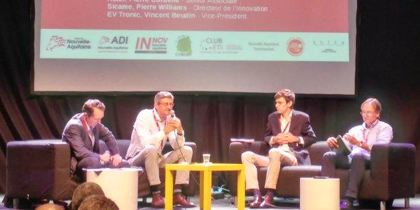 De gauche à droite : Arnaud de Malet (ADI Nouvelle-Aquitaine), Pierre Wiliiams (Sicame), Pierre Cordelle (Aster) et Vincent Beudin (EVtronic).