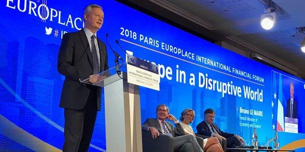 Bruno Le Maire aux Rencontres financières internationales de Paris Europlace ce mercredi 11 juillet, aux côtés de Gérard Mestrallet, Valérie Pécresse et Augustin de Romanet.