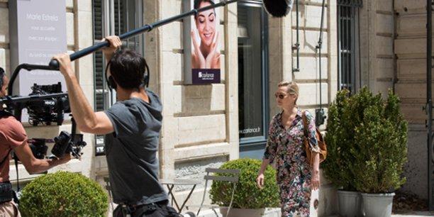 Tournage du feuilleton de France 2 Un si grand soleil, à Montpellier.