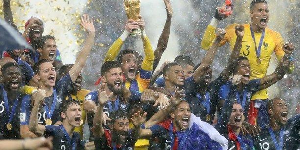 L'équipe de France, lors de sa victoire en Coupe du monde en Russie le 15 juillet.