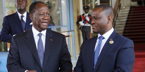 Le président ivoirien Alassane Ouattara et le président de l'Assemblée nationale, Guillaume Soro.