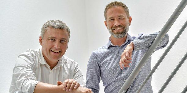 Grégory Verdon, directeur de Soditel, et Cédric Moncoqut, gérant de Cap Info, les deux nouveaux co-présidents du Centre des jeunes dirigeants Bordeaux.