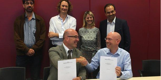 Les initiateurs de MedXCell Science SAS: les Prof. C. Jorgensen et J. De Vos, la Dr D. Noël, le CHU de Montpellier et MedXCell SA.