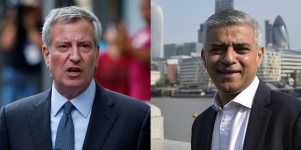 Les maires de New York et Londres lancent un appel au désinvestissement des énergies fossiles (de gauche à droite Bill de Blasio et Sadiq Khan.