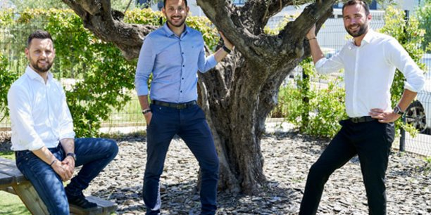 Les cofondateurs John Aldon, Adrien Content et Yohann Caboni