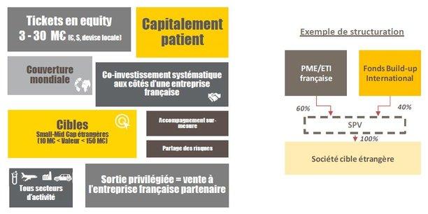 Le nouveau fonds de Bpifrance co-investira avec une PME dans le capital de sa cible d'acquisition à l'international des montants allant de 3 à 30 millions d'euros.