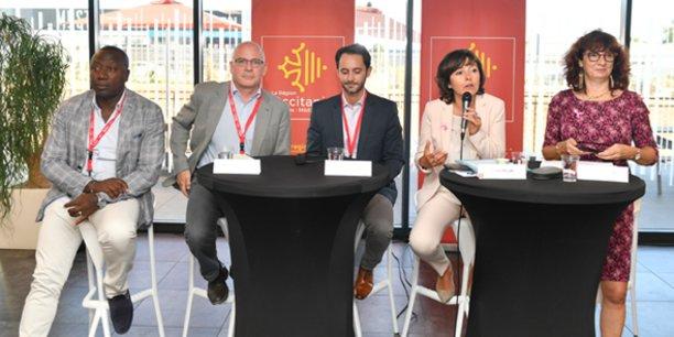 B. Nahum (Quantum Surgical), F. Pierrot (UM), N. Ferras (InVivo Invest), C. Delga et M-T. Mercier (Région)