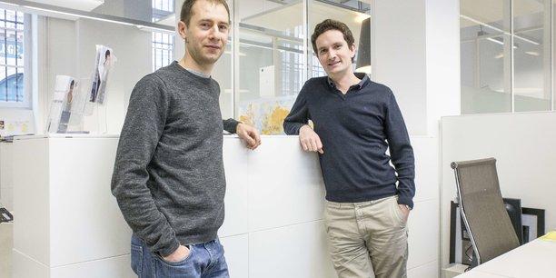Les fondateurs de l'application de coovoiturage Karos, Tristan Croiset à gauche et Olivier Binet à droite.