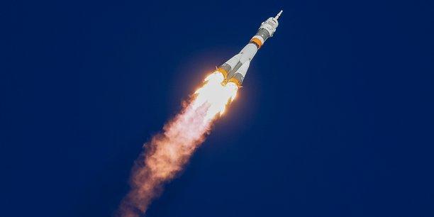 Photo d'illustration : le vaisseau spatial Soyouz MS-10 transportant l'équipage de l'astronaute américain Nick Hague et du cosmonaute russe Alexey Ovchinin décolle vers la Station spatiale internationale (ISS) depuis la rampe de lancement du cosmodrome de Baïkonour au Kazakhstan, le 11 octobre 2018.