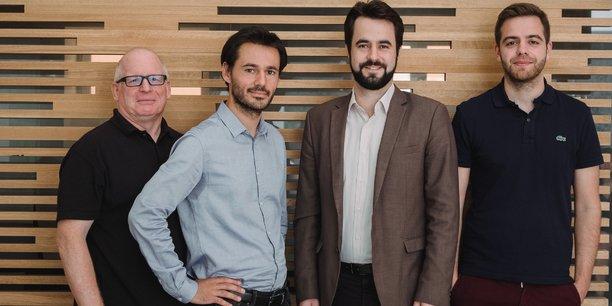 Les quatre fondateurs d'Hubware, de gauche à droite Pete Pierce, Gautier Chapuis, Alexis Laporte, et Simon Ternoir.