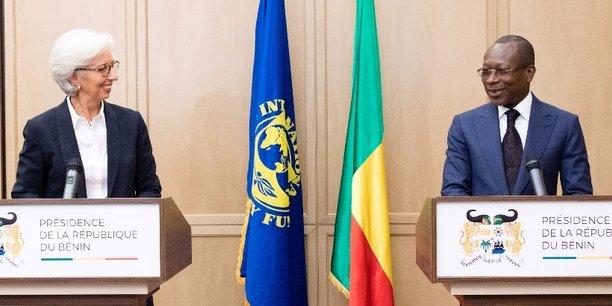 Christine Lagarde, directrice générale du FMI, et le président Patrice Talon, lors dun point de presse organisé en décembre 2017 dans la capitale béninois Cotonou.