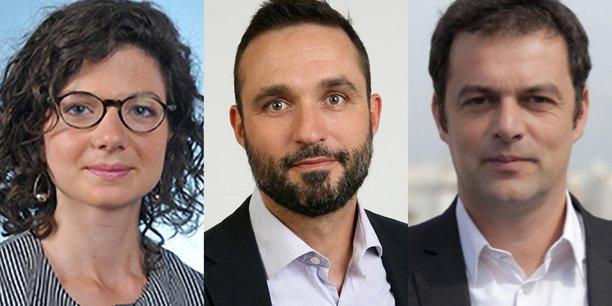 Bénédicte Peyrol, députée LREM, Benoît Leguet, directeur général d'I4CE (Institute for Climate Economics, le think tank sur l'économie de la transition), et Christophe Robert, de la Fondation Abbé-Pierre (FAP).