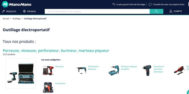 ManoMano se positionne comme une place de marché : elle ne vend aucun produit en propre mais fait l'intermédiaire entre les internautes et les entreprises