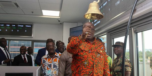 Le président ghanéen Nan Akufo-Addo, lors la cérémonie de la cloche annonçant le lancement de la bourse agricole du Ghana (GVX), le mardi 6 novembre 2018.