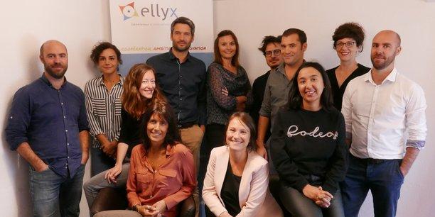 L'équipe d'Ellyx en novembre 2018 avec Sébastien Palluault, à gauche, et Méri Réale, au centre, en blanc.