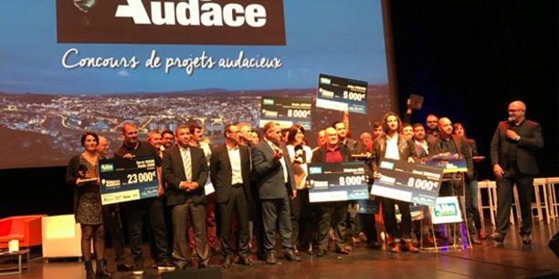 Final du concours Alès Audace, avec l'ensemble des lauréats et partenaires