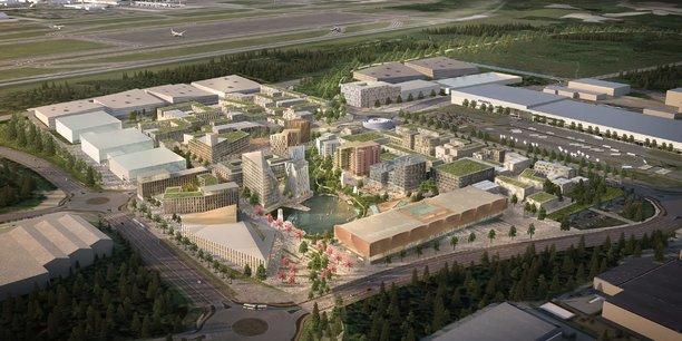 Construite à partir de l'aéroport, la zone urbaine Oslo Airport City se développera sur 4 millions de kilomètres carrés alimentés en énergie renouvelable.