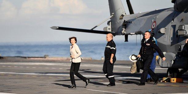 Florence Parly, ministre de la Défense, en visite sur le porte-avions Charles-de-Gaulle, en rade de Toulon, le 8 novembre 2018.