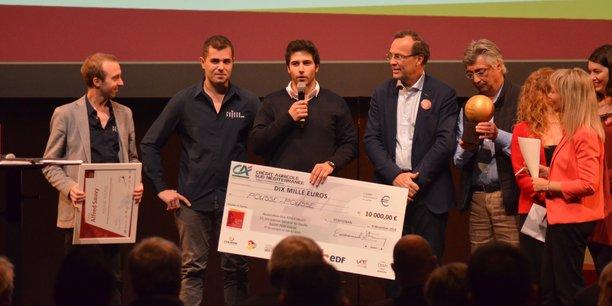 Les trois fondateurs de Pousse Pousse aux côtés de l'entrepreneur Emmanuel Stern, président du Prix Alfred Sauvy