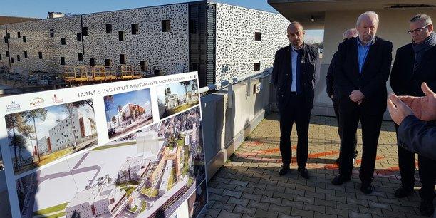 Thierry Beaudet, président national de la Mutualité Française, et René Game, président du groupe Languedoc Mutualité et d'Eovi Mcd Santé et Services, le 14 décembre 2018 à la clinique Beau Soleil de Montpellier.