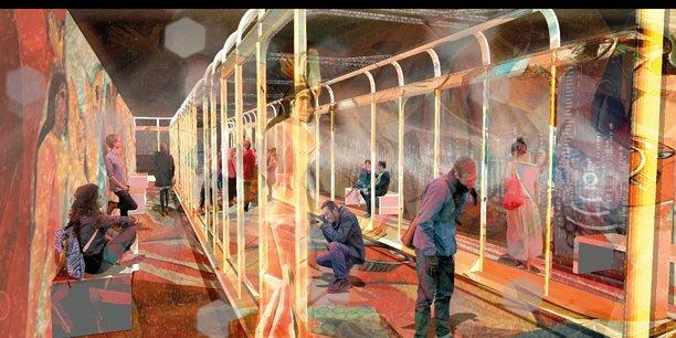 Simulation de la future galerie média de la station de métro Palais Royal-Musée du Louvre.