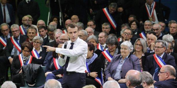 Le président de la République lors du grand débat national au premier trimestre 2019.