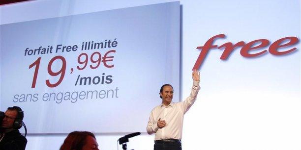 Xavier Niel, fondateur d'Iliad, maison mère de Free, lors du lancement de l'offre Free mobile le 10 janvier 2012. Copyright Reuters