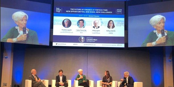 Christine Lagarde, directrice générale du Fonds monétaire international (FMI) mardi 29 janvier au Paris Fintech Forum.