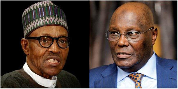 Muhammadu Buhari (à gauche) du Congrès des Progressistes (APC) et l'ancien vice-président (1999-2007), Atiku Abubakar du Parti Démocratique du Peuple (PDP), principale formation d'opposition.