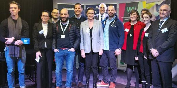 Le jury et les lauréats de la sélection 10.000 startups pour changer le monde à Strasbourg.