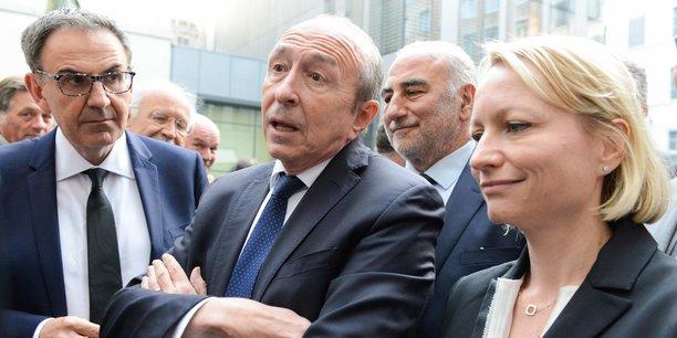 Caroline Collomb ici avec son mari, David Kimelfeld et Georges Kepenekian, le 26 avril 2018. Cinq mois avant le début des hostilités.
