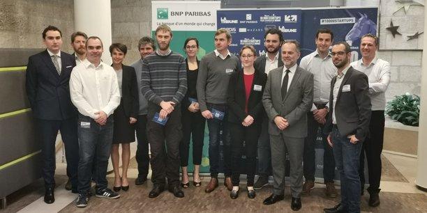 Le jury et les lauréats de la sélection régionale du Prix 10000 startups pour changer le monde à Bordeaux, jeudi 14 février.