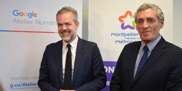 Sébastien Missoffe, DG de Google France, et Philippe Saurel, maire de Montpellier et président de Montpellier Méditerranée Métropole, à Montpellier le 15 février 2019.