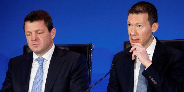 Pieter Elbers (à gauche) et Ben Smith lors de l'annonce des résultats du groupe Air France-KLM pour l'année 2018, le 20 février 2019, à Paris.