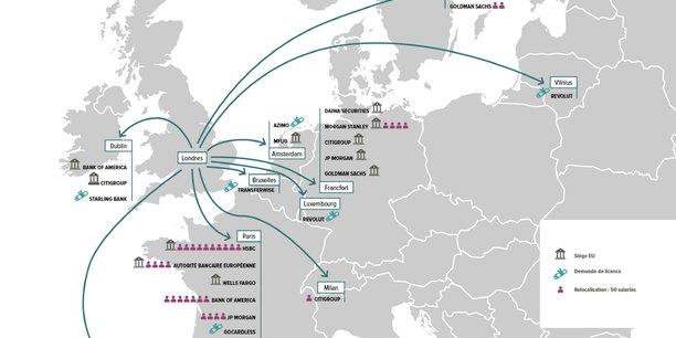 La relocalisation des grands acteurs internationaux de la banque et de l'assurance, de Londres vers un pays de l'UE, profite aux principales places, notamment Paris.