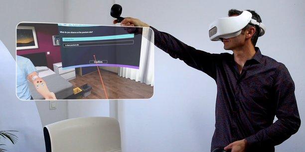 Les formations développées avec le concours de Simforhealth permettent de former le personnel médical. Ici, avec le dernier casque de réalité virtuelle autonome HTC Vive Focus Plus