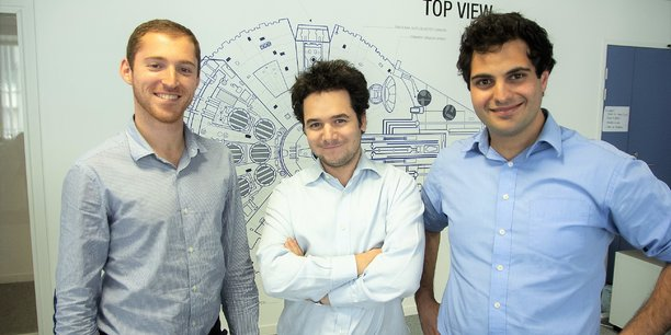 Les trois cofondateurs de Shift Technology. De gauche à droite : Eric Sibony, David Durrleman et Jeremy Jawish.