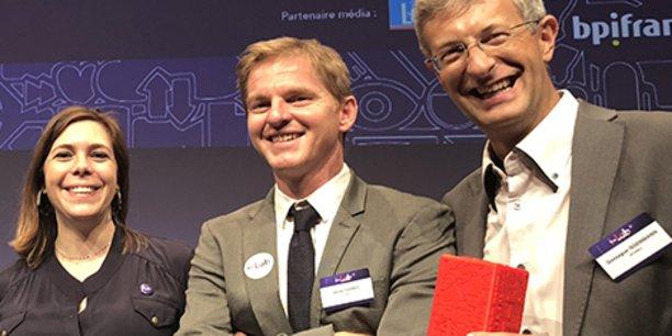 S. Huberlant, X. Garric et G. Issenmann, cofondateurs de Womed, lors de la finale du Grand Prix I-Lab 2018